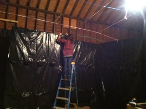 My lovely friend Giada working on our haunted maze.
